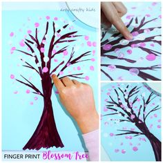 Finger Print Spring Blossom Tree - An easy Spring Craft for kids. A fun way to explore the changing seasons - great for toddlers and preschoolers!