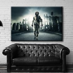 Large Size Box Framed Canvas Print Artwork Stretched Gallery Wrapped Wall Art Like Painting Hanging Original Decorative Modern Home & Living Decor Military Mask Man Weapons Respirator Gas Game Framed Canvas Prints, Artwork Prints, Canvas Frame, Poster Prints, Masked Man, Box Frames, Home And Living, Weapons, Military