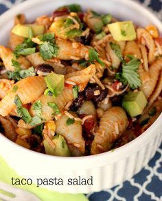 Delicious Taco Pasta Salad recipe on { lilluna.com) Can't believe I never thought of this. Will be making it soon!