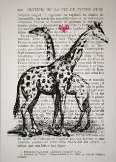 Giraffe Print - Vintage French Book Page Print- 5x7 Giraffes in Love art print