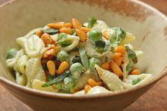 Four seasons of food: Pasta shells with yogurt sauce, peas, and chile