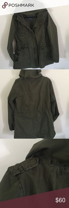 Olive green Military jacket American Eagle olive green military jacket.  It always has draw strings to give it a waist. Size Large. New but no tags. American Eagle Outfitters Jackets & Coats