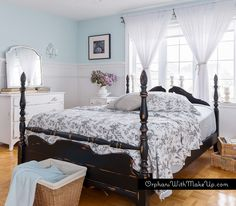 """Come see all of the photos of this gorgeous """"ebony and ivory"""" bedroom set by Mary from Orphans With MakeUp! She used Simplicity and Liquorice to create a natural, calm, cottage feel for this room. Bedroom Makeover, Black White Bedrooms, Bedroom Paint, Black Painted Furniture, Bedroom Lighting Diy, White Bedroom Set, Bedroom Decor, White Bedroom, Country Chic Paint"""