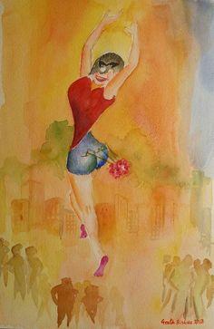 Buy Rise and Shine, Watercolor by Geeta Biswas on Artfinder. #watercolor #contemporaryart #rise #shine #woman #conceptart #aquarelle #geetabiswas #artforsale #freedom #emergingartist #originalart