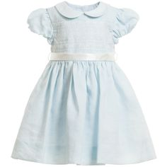 Baby girls very beautiful, pale blue dress by Ralph Lauren with a look and feel of linen. It has a full, lined skirt with delicate embroidery on the chest and a self tie ribbon around the waist. It fastens at the back with covered buttons and comes with an extra special satin, padded coat hanger and a cute pair of knickers.<br /> <ul> <li>2 piece - dress & knickers </li> <li>100% ramie (looks and feels like linen)</li> <li>Lining: 100% cotton </li> <li>Dry clean </li> <li>Padded, satin coat…
