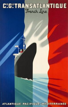 Vintage Travel Poster, Paul Colin, Cie Gle Transatlantique French Line