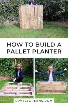 How to convert a single wood pallet into a deep container for growing food. Includes written instructions plus a video showing how to build it, line it, then fill it with compost for growing edible plants garden videos How to build a Pallet Planter Diy Pallet Projects, Wood Projects, Woodworking Projects, Outdoor Projects, Woodworking Plans, Woodworking Videos, Diy Backyard Projects, Pallet Crafts, Woodworking Furniture