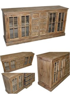 "Farmhouse 4-Door W/ 6-Drawers Buffet 75""W x 20""D x 35.5""H -solid reclaimed pine $1199. www.facebook.com/simplyparis4701"