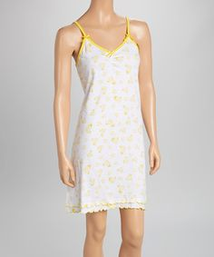 Look what I found on #zulily! Yellow & White Hearts & Stars Nightgown - Women #zulilyfinds