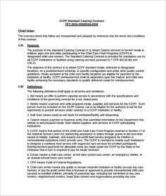 Standard Catering Contract Pdf Template Free Download  Catering