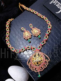 Red and Green Stone Haaram Set
