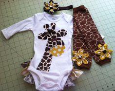 Gia the Giraffe Rufflebum Outfit with Matching Legwarmers and Headband