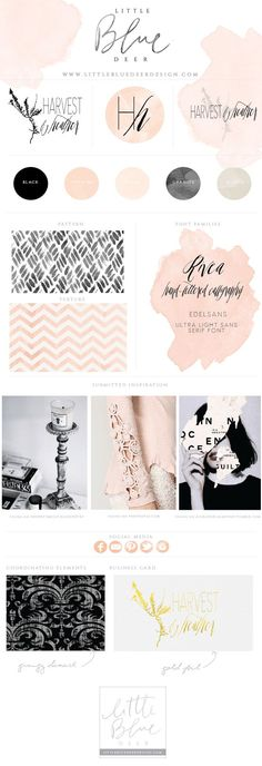 Mood board inspiration. Custom blog design, website design and logo design by http://www.littlebluedeerdesign.com