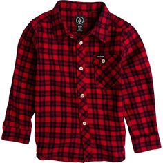 Volcom flartin ls shirt ($52) ❤ liked on Polyvore featuring tops, red long sleeve top, button up shirts, red top, long sleeve tops and button down shirt