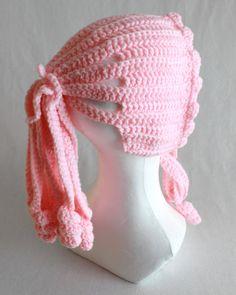 Ponytail Hat Crochet Pattern- Ponytail Hat Pattern - Add a creative touch… Crochet Cap, Crochet Baby Hats, Crochet Beanie, Thread Crochet, Crochet Crafts, Crochet Stitches, Crochet Hooks, Crochet Projects, Crochet Pony