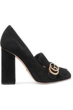 3359ceda26 Marmont Faux Pearl-embellished Fringed Suede Pumps Black Block Heel Pumps,  Black High Heel