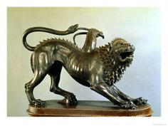 """Wounded Chimaera; from Arezzo; Early 4th Century BC; Bronze; Height 31 1/2""""; The Etruscans used the Greek myth of the 3 headed beast wounded by Bellerophon on his winged-horse, Pegasus, for inspiration."""