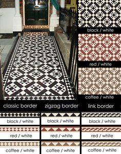 Suppliers of Euthentic Victorian Geometric Encaustic Tiles I love the star pattern in black and white. Hallway Decorating, Victorian Homes, House Front, House Exterior, Victorian Mosaic Tile, Porch Tile, Victorian Front Garden, Victorian Tiles, Tiled Hallway