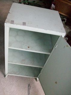 Interior of metal cabinet now in the Memory Furniture Romantic Country booth.  SOLD