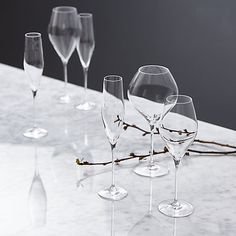 John Lewis Croft Collection Swan Crystal Glass Flute, Set of 4, Clear, 190ml Online at johnlewis.com