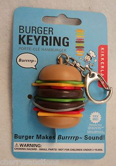 BURPING HAMBURGER sound KEYCHAIN keyring musical novelty key ring Cool Keychains, Cute Keychain, Diy Crafts To Do At Home, Pusheen Stuff, Key Chains, Key Rings, Contents, Burgers, Locks