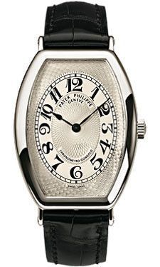 Patek Philippe Gondolo Watches. 32mm x 42mm platinum case, hand-guilloched silver dial with Patek Philippe and Chronometro Gondolo inscriptions and Breguet numerals, manually wound caliber 25-21 REC m
