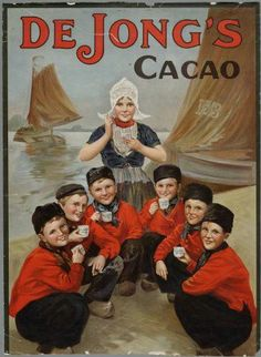 CACAO DE JONG´S Vintage Labels, Vintage Postcards, Vintage Ads, Vintage Images, Vintage Stuff, Vintage Advertising Posters, Old Advertisements, African Pottery, Cocoa