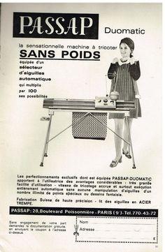 Publicité Advertising 1969 La machine à tricoter PASSAP Duomatic