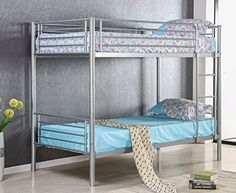 Merax Solid Metal Twin Over Twin Bunk Bed in Slivery Finish - $139.99