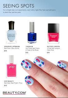 DIY nail art! Light blue base with spots in dark blue and hot pink. Visit Beauty.com for more DIY nail art.