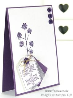 Always something to be thankful for - like this pretty purple card!  Different shades of purple collide on this simple yet elegant card, using the Mum's Love stamp set.  DIY thank you card