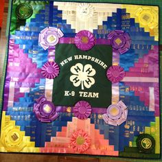 Ribbons quilted in a log cabin design to feature the young ladies 4H years.