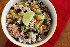 Healthier vegan version of traditional mexican rice.