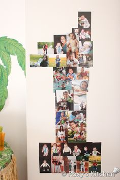 Safari Jungle Themed First Birthday Party DIY Decorations - Make a Number One Sign Out of Photos... or whatever your kid's age is !