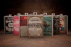 Saucy Hip Flasks • There is no hipper way to hit the sauce than with theseSaucy Hip Flasks featuring the original illustrations of Trixie & Milo. These 8 oz. stainless steel flasks are the perfect and stylish way to sneak a little of your favorite Hooch into the game, party or anywhere else Hooch is prohibited. Available in 7 different and equally entertaining variations. • www.bourbonandboots.com