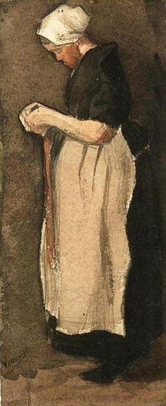 Gallery Direct Fine Art Prints: Scheveningen Woman by Vincent Van Gogh Van Gogh Aquarell, Van Gogh Watercolor, Watercolor Pencils, Vincent Van Gogh, Van Gogh Museum, Art Van, Rembrandt, Monet, Impressionist