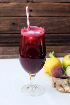 Detoxifying Juice: 1 1/2-inch nub of ginger, 1 large cucumber, 2 stalks celery, 1 large (or two small), 1 lemon, peel and pith removed, 2 small apples, cored and cut into wedges, 1 large handful of parsley.  Press all of the ingredients through a juice extractor. Stir and serve immediately.