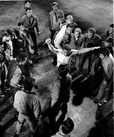 Riff (Russ Tamblyn) is stabbed by Bernardo (George Chakiris)