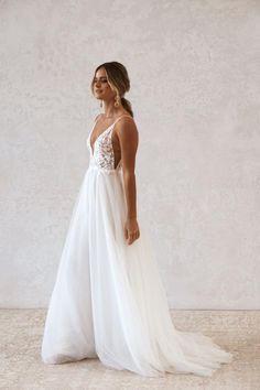 Strappy Wedding Dress, Cute Wedding Dress, Dream Wedding Dresses, Vows Bridal, Bridal Gowns, Wedding Goals, Wedding Things, Lesbian Wedding, Bohemian Bride