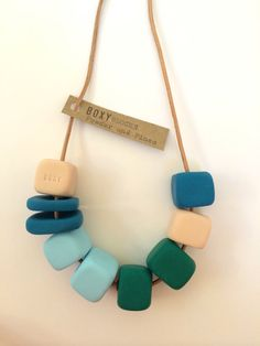 POWDER and PINES Boxy Square Clay Necklace Teal by BoxyJewellery