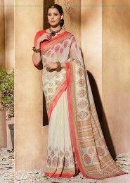 Casual Wear Cream Silk Printed Saree