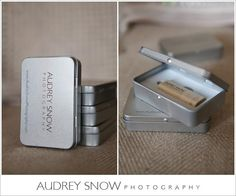 Audrey Snow's USB drives and packaging feature her Studio name and website address.