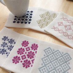 kogin-sashi coasters (embroidery)