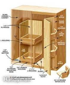 Kitchen Storage Projects That Create More Space DIY Blind corner cabinet solution<br> Build these 5 kitchen cabinet storage projects and increase the storage capacity of your cabinets without increasing the size of your kitchen or replacing cabinets. Blind Corner Cabinet, Corner Cupboard, Kitchen Corner, Diy Kitchen, Kitchen Design, Corner Cabinets, Base Cabinets, Kitchen Cabinets, Kitchen Countertops