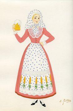 La Flandre, French Provincial Costumes (1936), artist: Emile Gallois Costume Français, French Costume, French People, French Provincial, Cinderella, Disney Characters, Fictional Characters, Textiles, Culture