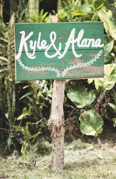 Weathered hawaiin wedding sign.