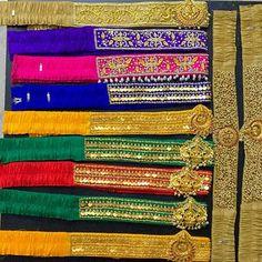 Half Saree Designs, Sari Blouse Designs, Designer Blouse Patterns, Saree With Belt, Saree Belt, Saree Blouse, Bead Embroidery Tutorial, Embroidery Patterns, Silk Bangles