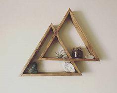 diy floating triangular  shelves