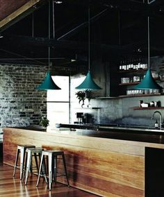reclaimed wood and brick those lights open shelfing love love love it!!