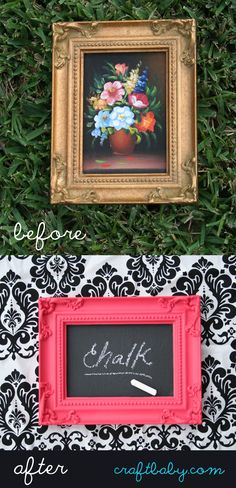 Thrift store frame + pink spraypaint + chalkboard paint = a good time.